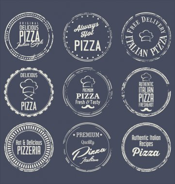 Pizza retro labels