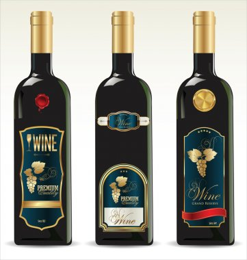 Bottles for wine with labels