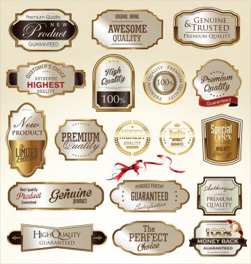 Set of Premium quality golden labels stock vector