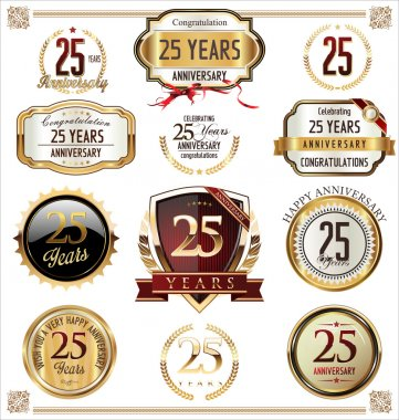 Anniversary golden labels and badges