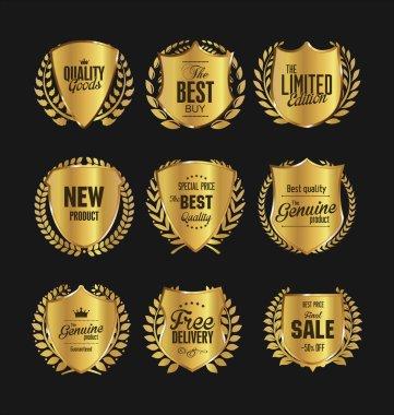 Golden vintage shields and laurels