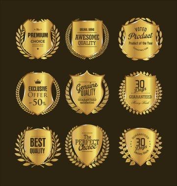 Golden retro vintage shields and laurels