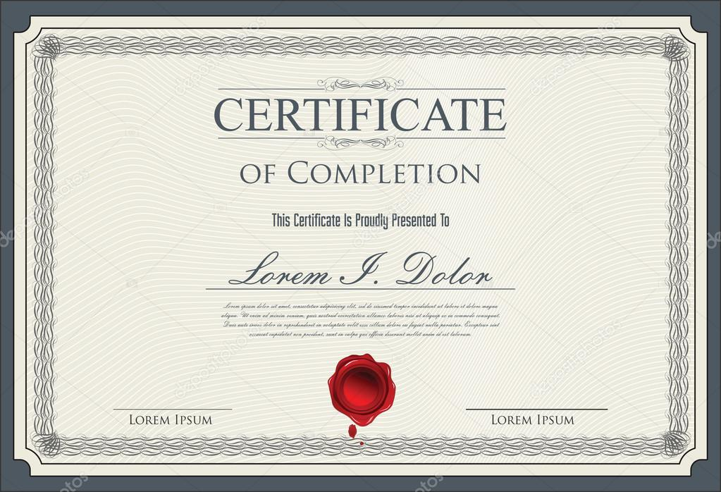 certificate diploma of completion stock vector totallyout 77528488