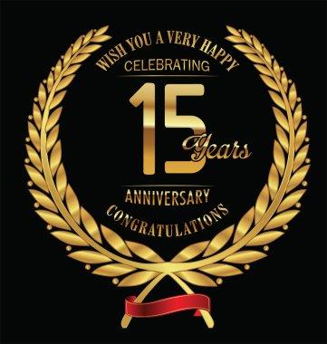 Anniversary golden laurel wreath 15 years