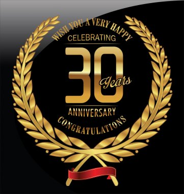 Anniversary golden laurel wreath 30 years