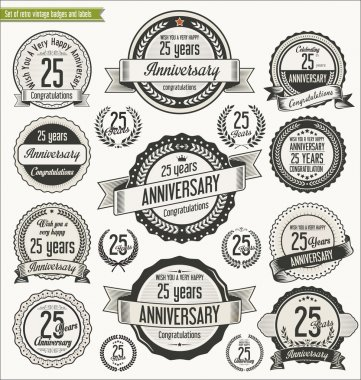 Anniversary retro badges collection
