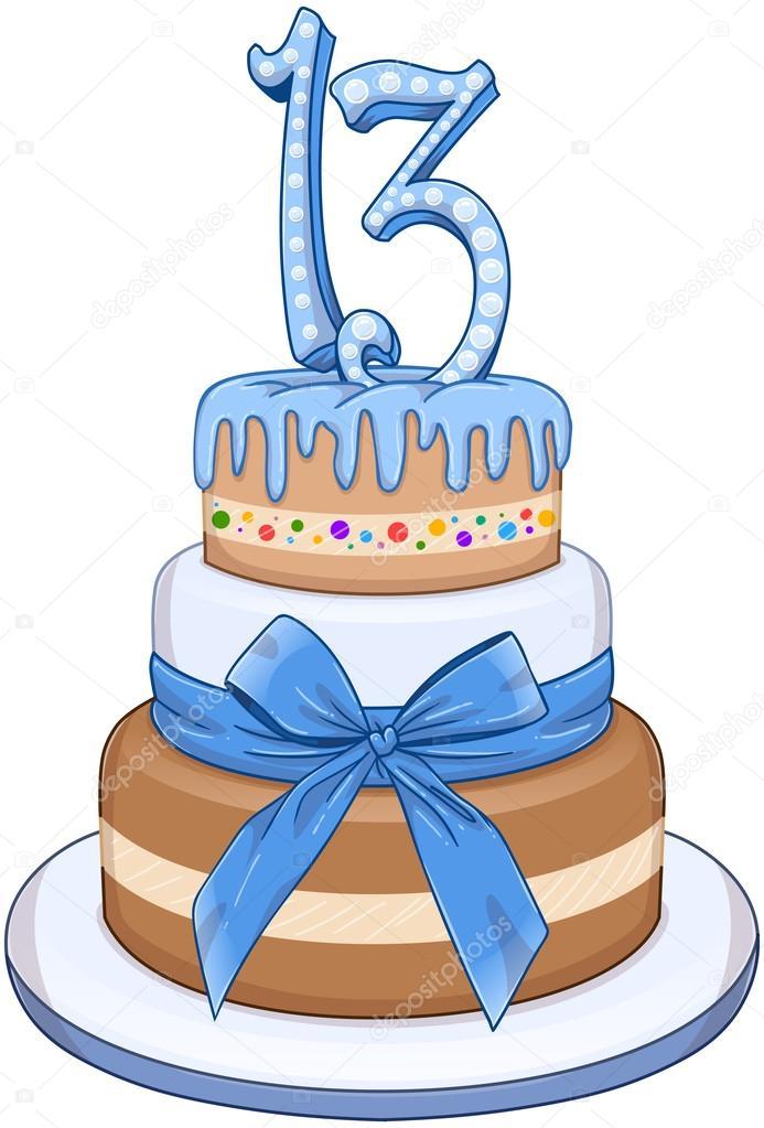 Blue Bar Mitzvah Cake For 13th Birthday Stock Vector Lironpeer