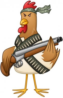 Vector illustration of a mad rooster with shotgun and bullets. stock vector