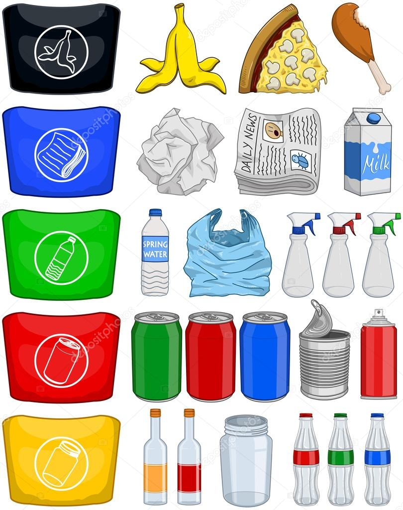 Alimentos botellas latas papel paquete de reciclaje de basura archivo im genes vectoriales - Objetos de reciclaje ...