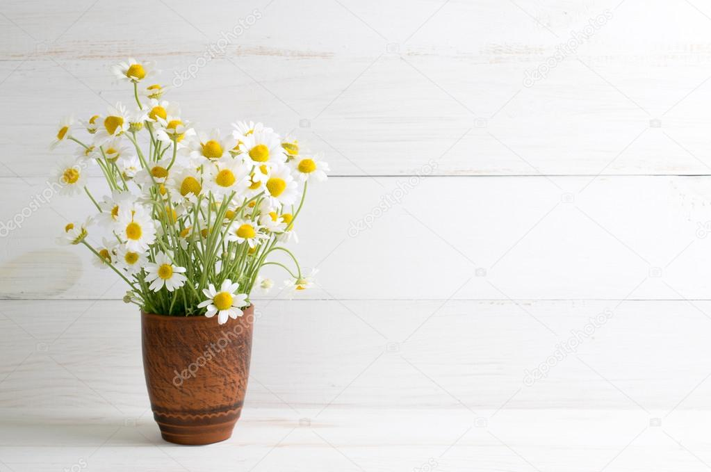 Daisy flowers bouquet in clay vase on white wooden shabby board ...