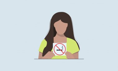 Woman holding a sign no smoking. Smoking problem. No smoking flat background. Crossed cigarette. Smoking kills. Vector illustration. Flat design icon