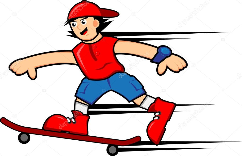 personagem de desenho animado garoto skatista vetores de stock