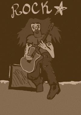 Vintage rock star playing