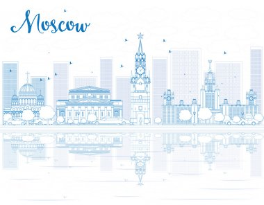 Outline Moscow skyline with blue landmarks.