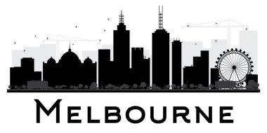 Melbourne City skyline black and white silhouette.
