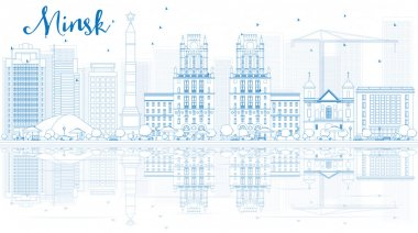 Outline Minsk skyline with blue buildings and reflections.