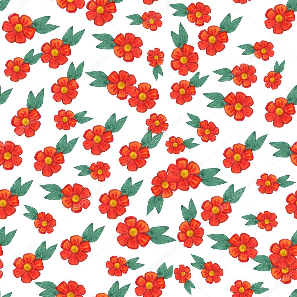 Watercolor pattern with red flowers and some floral elements.