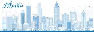 Outline Atlanta Skyline with Blue Buildings.