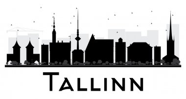Tallinn City skyline black and white silhouette.