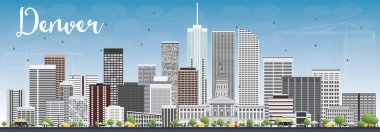Denver Skyline with Gray Buildings and Blue Sky.
