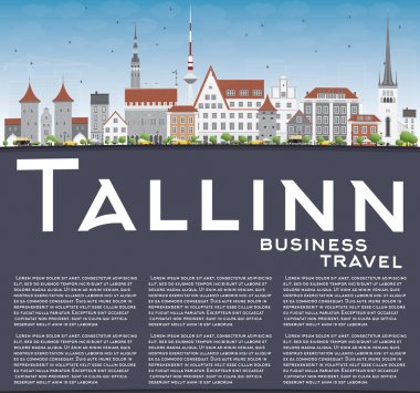 Tallinn Skyline with Gray Buildings, Blue Sky and Copy Space.