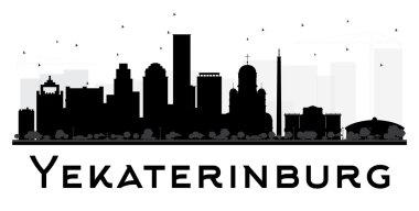 Yekaterinburg City skyline black and white silhouette.