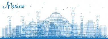 Outline Mexico skyline with blue landmarks.