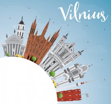 Vilnius Skyline with Gray Landmarks, Blue Sky and Copy Space.
