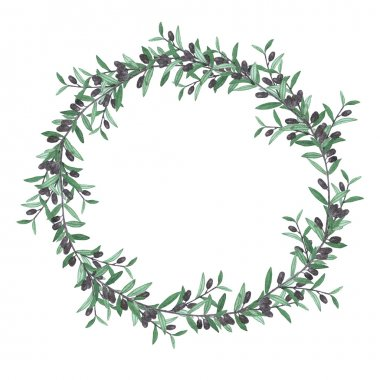 Watercolor olive wreath. Isolated illustration on white backgrou