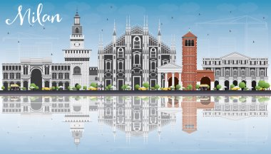 Milan Skyline with Gray Landmarks, Blue Sky and Reflections.