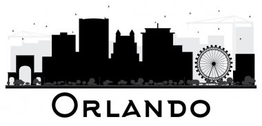 Orlando City skyline black and white silhouette.