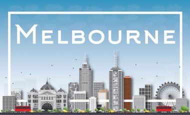 Melbourne Skyline with Gray Buildings and White Frame.