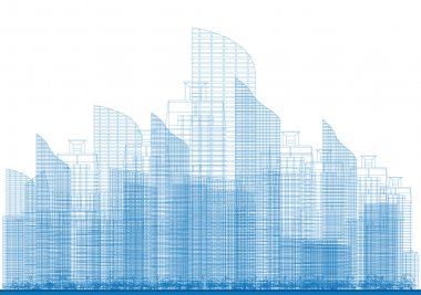 Outline City Skyscrapers in Blue Color.
