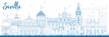 Outline Seville Skyline with Blue Buildings.