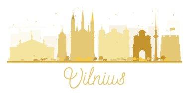 Vilnius City skyline golden silhouette.