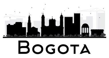 Bogota City skyline black and white silhouette.