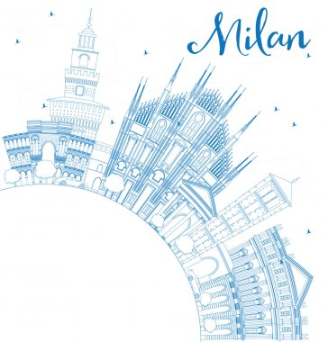 Outline Milan Skyline with Blue Landmarks and Copy Space.