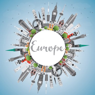 Europe skyline silhouette with different landmarks and copy spac
