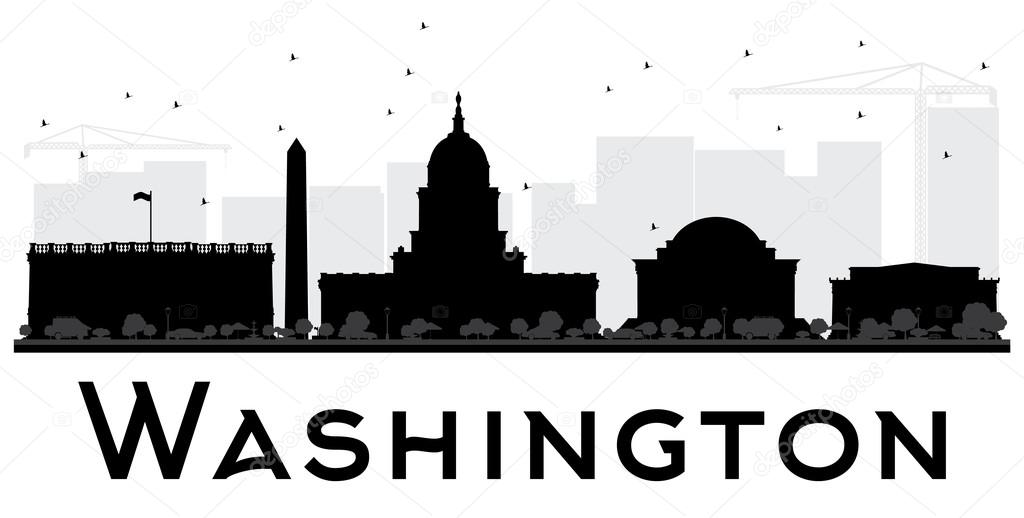 Sagoma skyline bianco e nero citt di dc di washington for Piani di washington