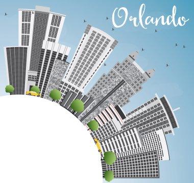 Orlando Skyline with Gray Buildings, Blue Sky and Copy Space.