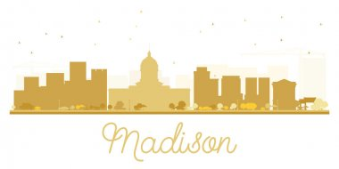 Madison City skyline golden silhouette.