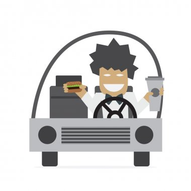 Man in car eating burger and drinking coffee