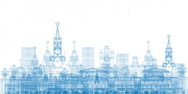 Outline Moscow City Skyscrapers and famous buildings