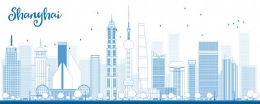 Outline Shanghai skyline with blue skyscrapers.