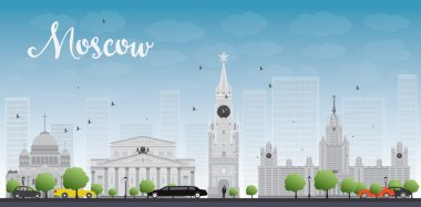Moscow City Skyscrapers and famous buildings in grey color