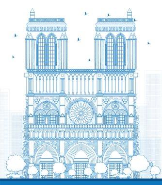 Outline Notre Dame Cathedral - Paris