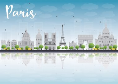 Paris skyline with grey landmarks and blue sky.