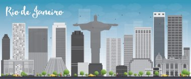 Rio de Janeiro skyline with grey buildings and blue sky. Vector illustration clip art vector