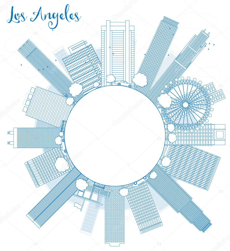 Outline Los Angeles Skyline with Blue Buildings and copy space