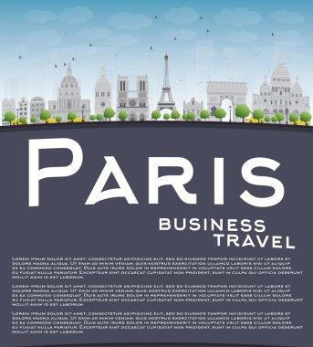 Paris skyline with grey landmarks, blue sky and copy space
